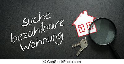 verklig, lägenhet, begrepp, search., egendom