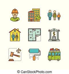 verklig, lägenhet, sätta, egendom, vektor, lineart, minimal, ikon