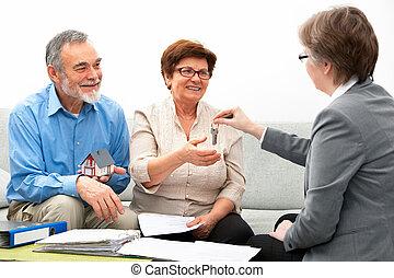 verklig, möte, fastighetsmäklare