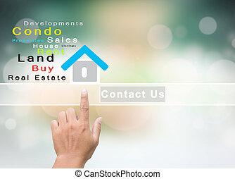 verklig, oss, kontakta, företag, egendom