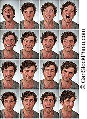 verklig, person, uttryck, collage
