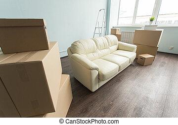 verklig, rum, egendom, concept-, mellan, belopp, rutor, gripande, omläggningen, soffa, färsk, vit, tom