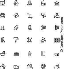 verklig, sätta, egendom, ikon