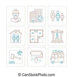 verklig, stil, sätta, egendom, ikonen, mono, vektor, tunn, begreppen, fodra