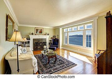 verklig, vardagsrum, egendom, vatten, elegant, ochard, utsikt., hamn