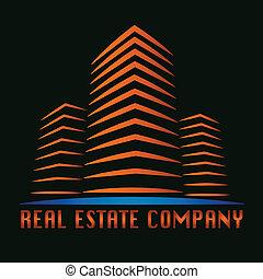 verkligt gods, byggnad, logo