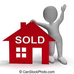 verkligt gods, erbjudande, framgångsrik, hus, såld, medel