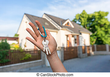 verkligt gods, ge sig, hus, medel, nyckel, ägare, ny egenskap