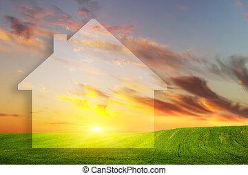 verkligt gods, hus, fält, grön, färsk, vision, sunset.