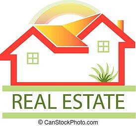 verkligt gods, hus, logo