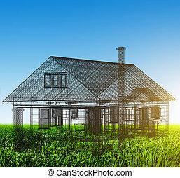 verkligt gods, hus, wireframe, projekt, grön, färsk, field.