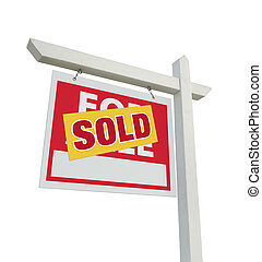 verkocht onroerende goederen, verkoop teken, thuis, witte