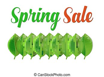 verkoop, blad, lente, poster