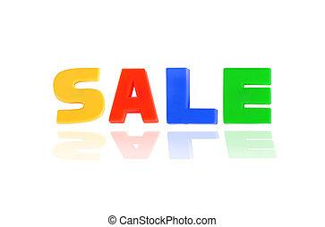 verkoop, geschreven, in, veelkleurig, plastic, geitjes, brieven