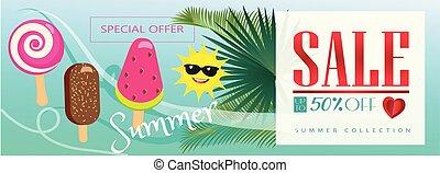 verkoop, hallo, zomer, tropische , spandoek