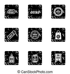 verkoop, iconen, set, grunge, stijl