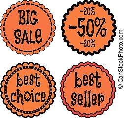 verkoop, kentekens, stickers, logo, stamps.