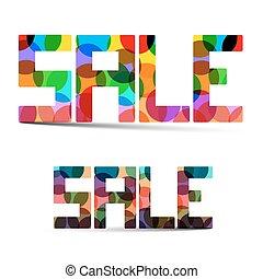 verkoop, kleurrijke, vector, titel