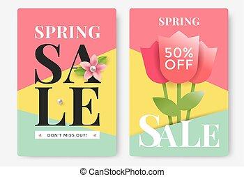 verkoop, lente, poster