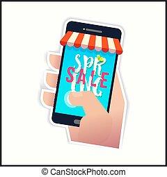 verkoop, lente, smartphone, tekst