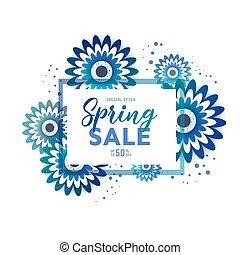 verkoop, lente, tekst, poster