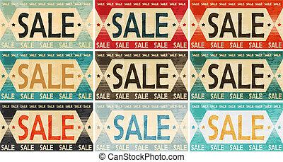 verkoop, ouderwetse , etiket