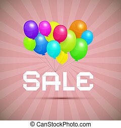verkoop, papier, titel, met, kleurrijke ballons, op, roze, retro, achtergrond