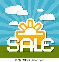 verkoop, papier, titel, op, landscape, achtergrond, met, zon, en, wolken
