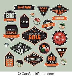 verkoop, reclame, ouderwetse , etiket