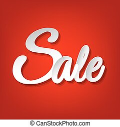 verkoop, rood, poster
