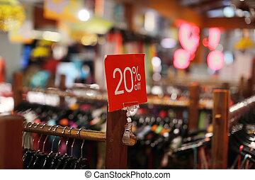 verkoop teken, in, een, de opslag van de kleding