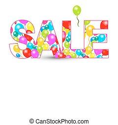 verkoop, titel, met, kleurrijke ballons, vrijstaand, op wit, achtergrond