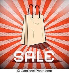verkoop, titel, met, papier boodschapende doende zak, op, retro, rode achtergrond