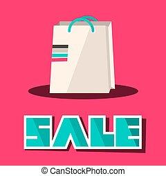 verkoop, titel, met, retro, papier boodschapende doende zak, op, rooskleurige achtergrond