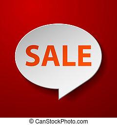 verkoop, toespraak, achtergrond, bel, rood, 3d