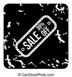 verkoop, van, pictogram, grunge, stijl