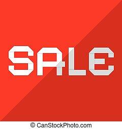 verkoop, vector, papier, titel, op, rode achtergrond