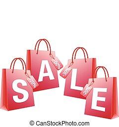 verkoop, vector, shoppen , rood, zakken