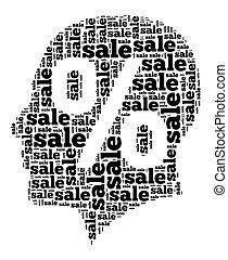 verkoop, woord, wolk, concept