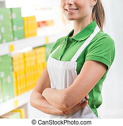 verkoopster, op, supermarkt