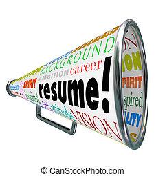 verkopen, hervatten, vaardigheden, ervaring, bullhorn, ...