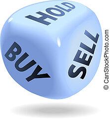 verkopen, kopen, financieel, dobbelsteen, houden, rol, markt, liggen