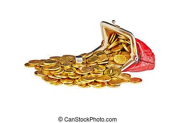 verkopen, kubus, woord, dobbelsteen, gouden muntstukken, verspreid, vrijstaand, buidel, achtergrond, wit rood