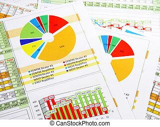 verkopen melding, in, grafieken, en, diagrammen
