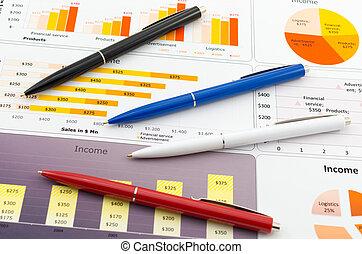 verkopen melding, in, statistiek, grafieken, en, enigszins, kleur, pencil's