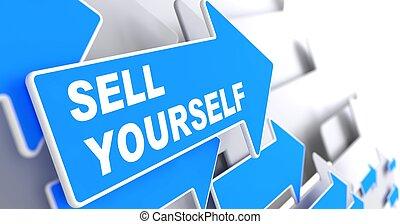verkopen, yourself., zakelijk, achtergrond.