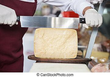 verkoper, het snerpen, kaas, met, dubbel, handled, mes