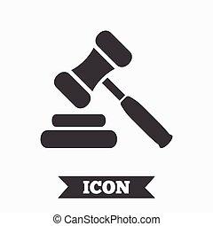 verkoping, symbool., rechter, gavel, icon., wet, hamer