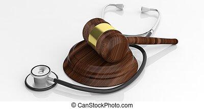 verkoping, vertolking, stethoscope, gavel, 3d