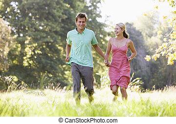verkoppeln draußen, rennender , halten hände, lächeln
